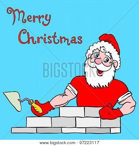 Santa Claus Muscular Builds A Brick House.