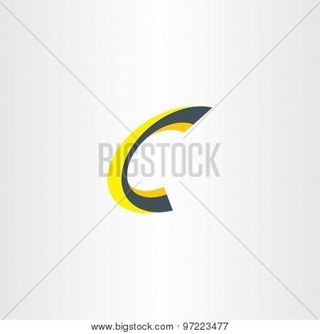 Yellow Black Letter C 3D Logo Icon
