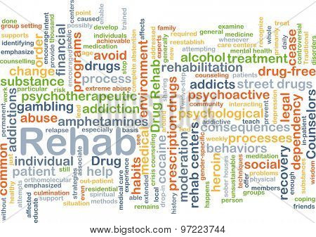 Background concept wordcloud illustration of rehab