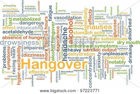 Background concept wordcloud illustration of hangover