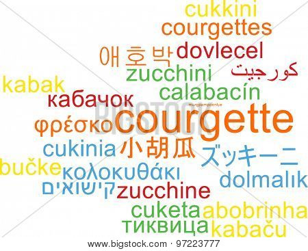 Background concept wordcloud multilanguage international many language illustration of courgette