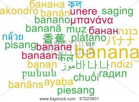 Background concept wordcloud multilanguage international many language illustration of banana