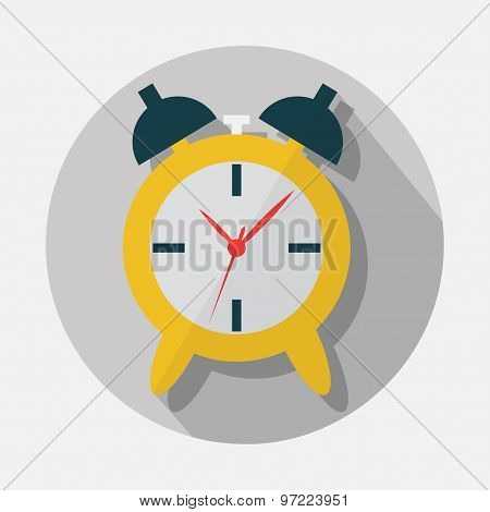 Alarm clock icon with long shadow on gray background