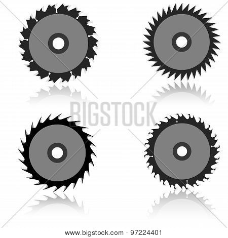Set Circular Saw Blade On A White Background.
