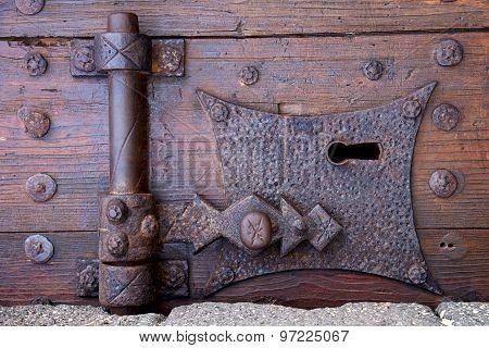 Castle Lock   Lanzarote Abstract Door Wood In The Red Brown