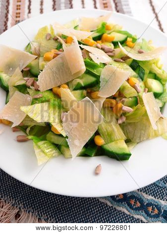 Salad With Cucumber, Sweetcorn And Parmesan Cheese