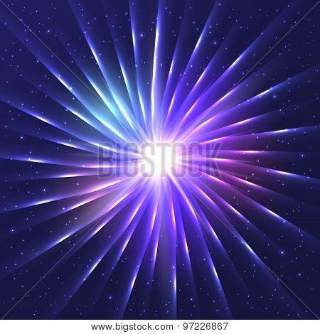 Abstract Neon Shining Vector Star