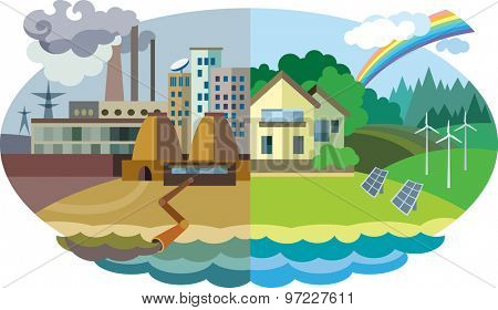 Flat design vector concept illustration: urban and village landscape. Environmental pollution and environment protection