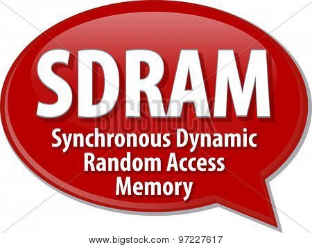 Speech bubble illustration of information technology acronym abbreviation term definition SDRAM Synchronous Dynamic Random Access Memory