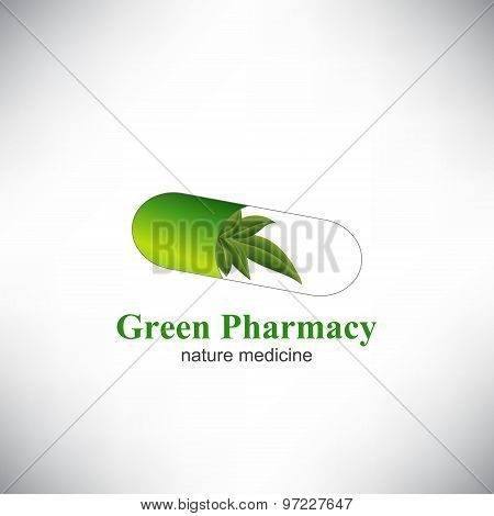 The capsule pill with Green leaves.