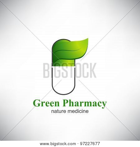 Green pharmacy. The capsule pill with Green leaf.