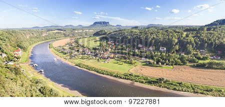 Panoramic View Of Rathen And Elbe River, Germany