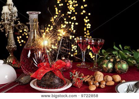 Christmas Pudding And Sparkling Fire