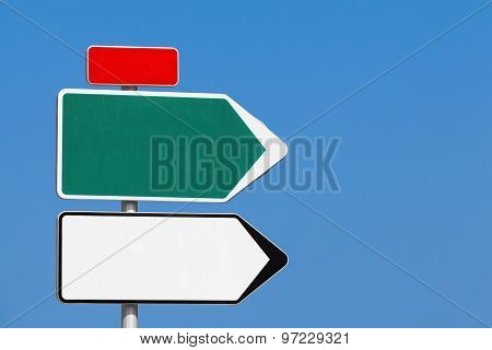 Blank Road Sign. White And Green Arrows, Red Label