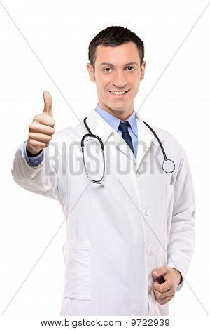 Happy Male Doctor With Thumbs Up