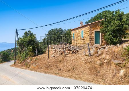 South Corsica, Rural Landscape With Old Small House
