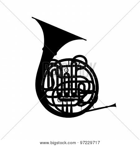 Silhouette Of French Horn