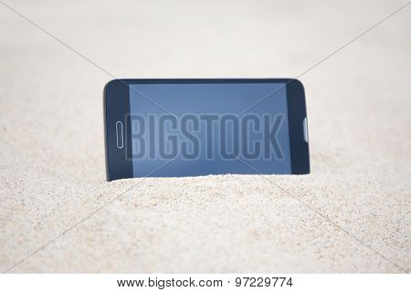 Smart Phone With Blank Screen In Sand