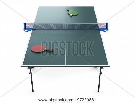 Tennis Table Racket And Tennis Ball