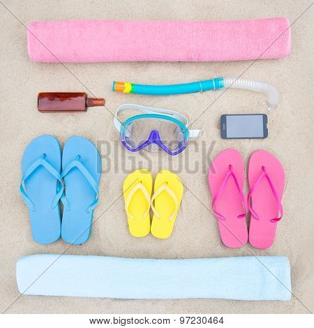 Family Vacation Concept - Summer Beach Accessories On The Sand