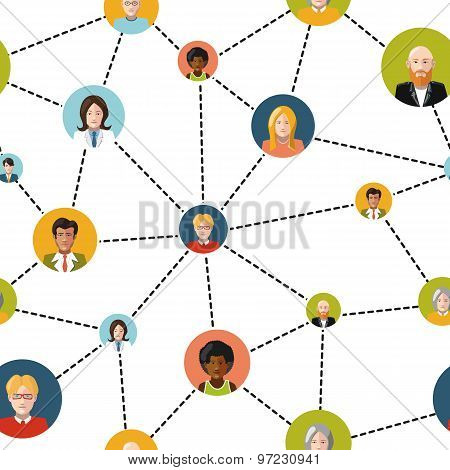 People avatars in social network on white background, seamless pattern