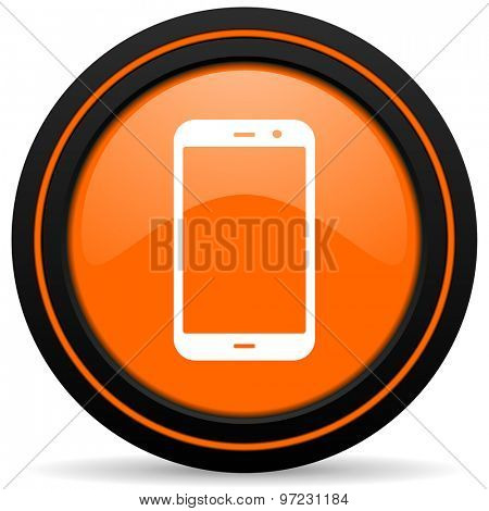 smartphone orange icon phone sign