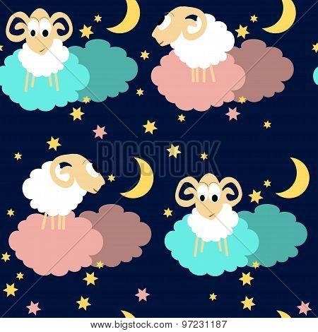 Seamless pattern with sheep at night