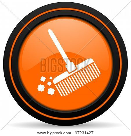 broom orange icon clean sign