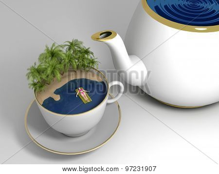 The   cup of tea with the island and the sea.