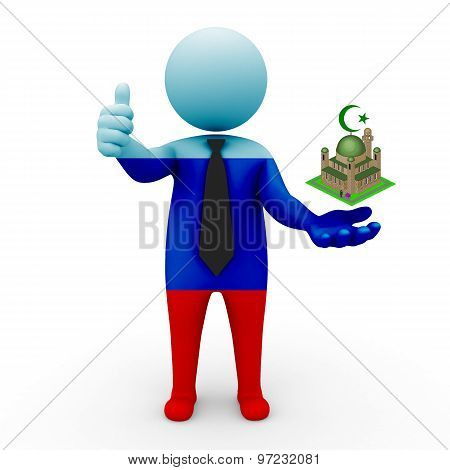 3d businessman  Lugansk People's Republic - Muslim mosque and Islam in Lugansk People's Republic