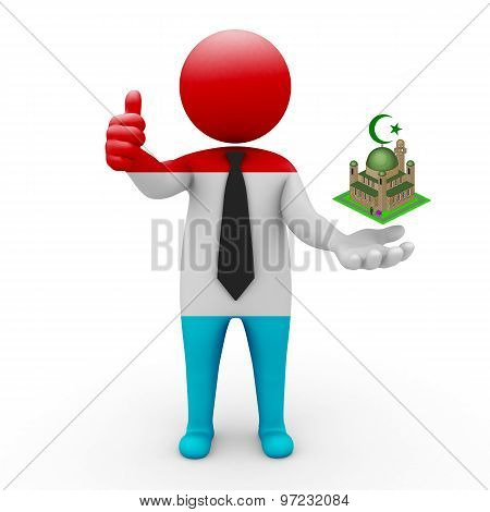 3d businessman people Luxembourg - Muslim mosque and Islam in Luxembourg