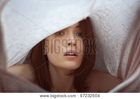Emotive portrait of woman is experiencing emotions