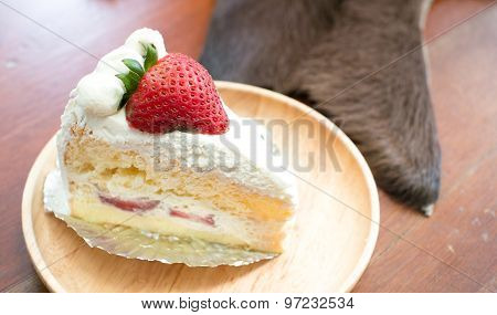 Strawberry Shortcake With Spoon And Fork, Selective Focus Point On Strawberry