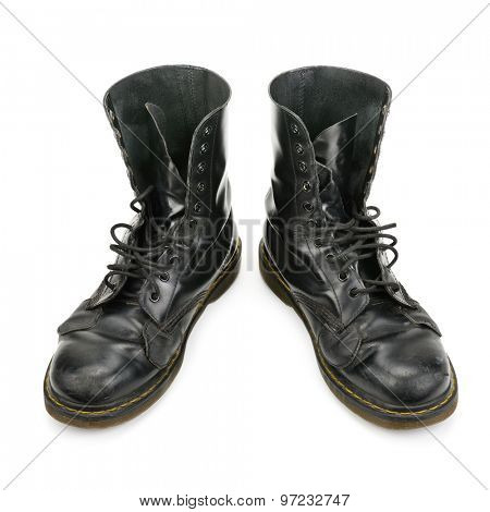 worn boots isolated on white