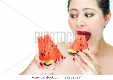 Beauty Woman Enjoy Eating Watermelon With Red Lips, Greedy, Bite