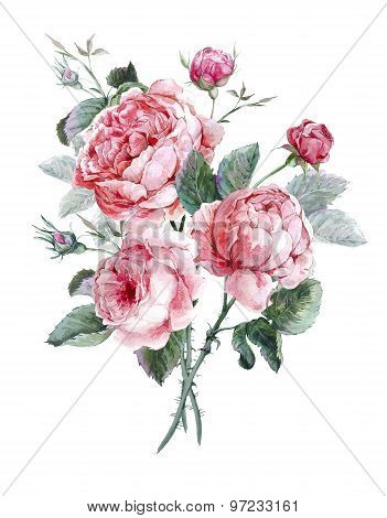Classical vintage floral greeting card, watercolor bouquet of English roses