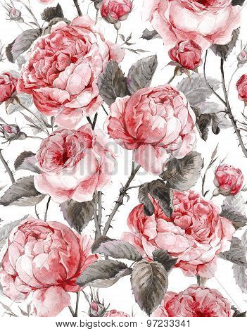 Classical vintage floral seamless pattern, watercolor bouquet of English roses