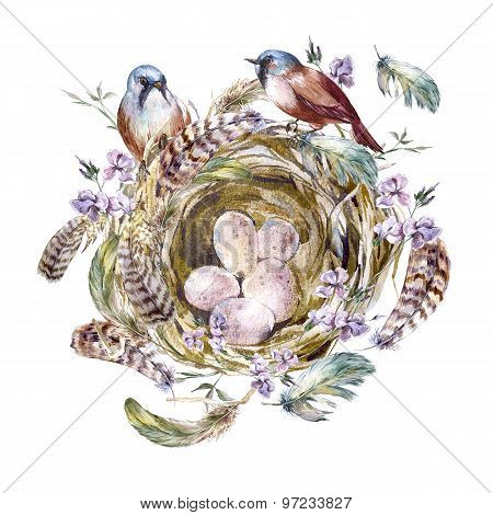 Watercolor floral vintage greeting card with birds nests and feathers