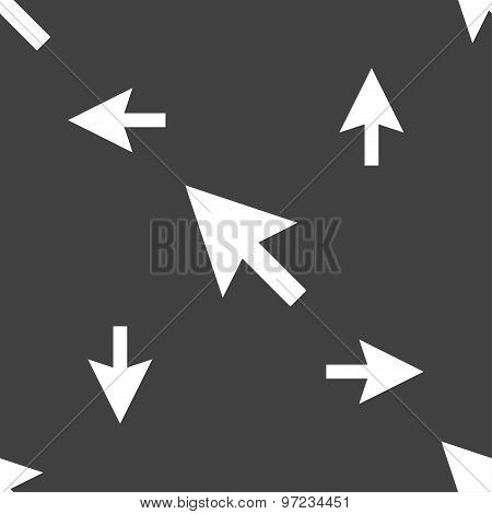 Arrow Cursor, Computer Mouse Icon Sign. Seamless Pattern On A Gray Background. Vector