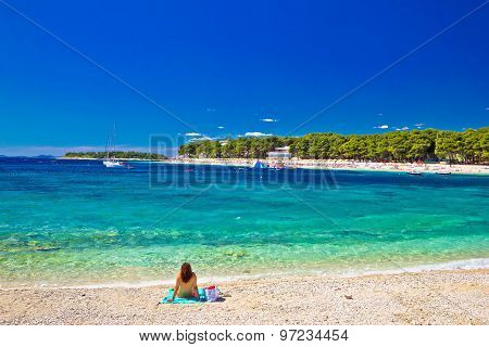 Turquoise Adriatic Beach In Primosten