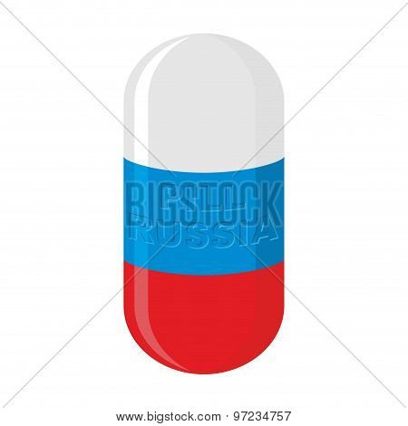 Russian Pill. Russian Capsule Flag. Vector Illustration Medical Tablet