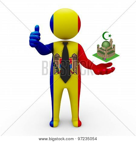 3d businessman people Moldova - Muslim mosque and Islam in Moldova