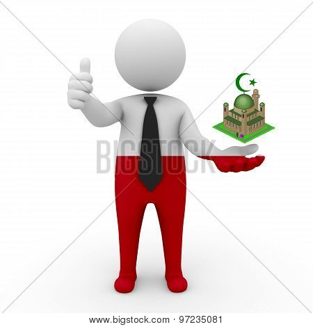 3d businessman people Poland - Muslim mosque and Islam in Poland