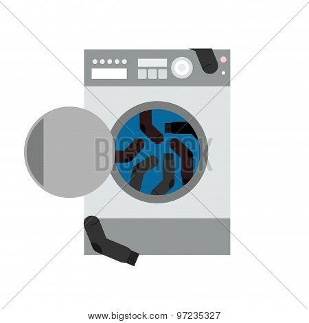 Washing Machine And Socks. Vector Illustration