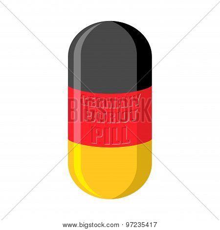 German Patriotic Pill. Germany Capsule Flag. Vector Illustration Medical Tablet