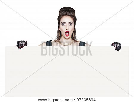 Surprised Beautiful Woman In Retro Pin Up Style With Empty Banner
