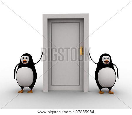 3D Penguin With Closed Door Concept