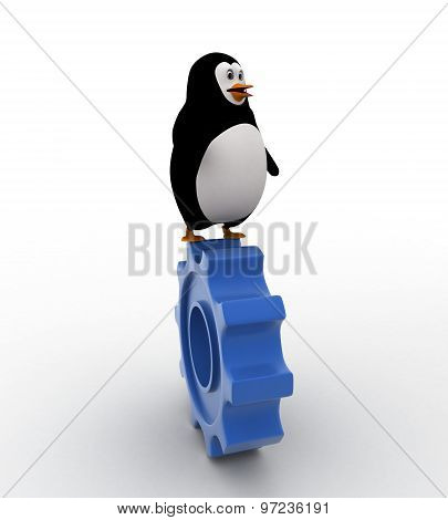 3D Penguin Walking And Raolling On Blue Gear Wheel Concept