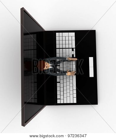 3D Man Sitting On Laptop Concept