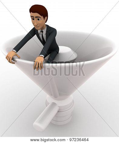 3D Man Sitting Inside Horn Of Speaker Concept